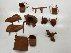 11 Vintage Marx Johnny West Chief Cherokee Eagle Geronimo Indian Toy Accessories