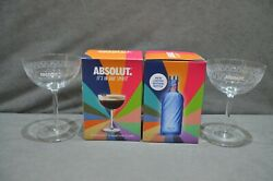 2x Absolut Vodka Martini Style Glass 22cl 220ml Christmas Gift In Box New 2021