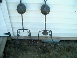 2 Antique 1890 Alcohol And Gas Light The Best Light Co. Canton Ohio Tiger Stripe