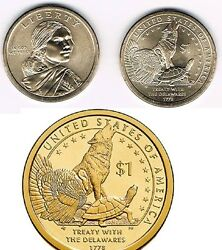 6 Coins Total 2013 Pandd- Sacagawea Native American Golden Dollars 3 P And 3 D
