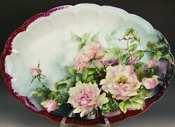 Still Life Limoges Hand Painted Roses 20 X 14 Platter Tray