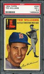 1954 Topps Ted Williams 250 Psa 5.5 Ex+ Boston Red Sox