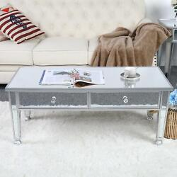 Mirrored Glass Cocktail Coffee Table Living Room Furniture Decor With Drawer