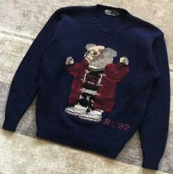 Rl And03992 1992 Polo Ours Pull Tricot Marine Vintage Taille M