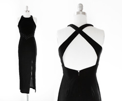 Vintage 90s Bari Jay Black Velvet Evening Dress Party Prom Evening Wear Si $45.00