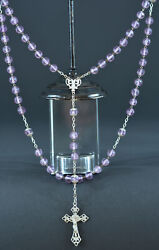 Art Nouveau 1900 French Antique Rosary Amethyst Glass And Sterling Silver