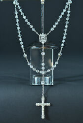 19thc Lovely French Antique Hand Rosary Clear Crystal And Sterling Silver