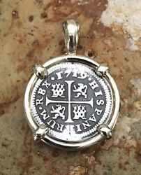 Pirate Coin Treasure Piece Of Eight Spanish Authentic 1/2 Reale 14k Gold Pendant