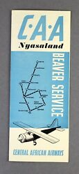Central African Airways Caa Nyasaland Beaver Service Airline Timetable Route Map