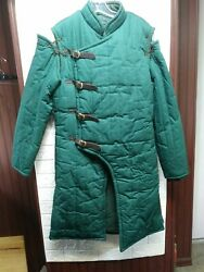 Steel Mastery Mideval Gambeson Single Layer Padded Armour Jcket Green One Size