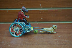 Vintage Tin Stock Jolly Pals Monkey On A Cart Pulled By Pug Wind Toy D.r.g.m