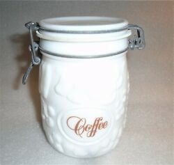 Vintage Wheaton White Milk Glass Canister Embossed Fruit 3/4 L -coffee