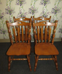 Tell City Set Of 4 Arrowback Side Chairs Andover Maple 8074