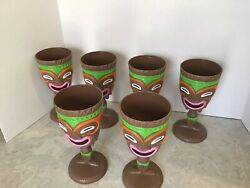 Plastic Tiki Stem Party Cups 6 Each Hawaiian Face Green With Pink
