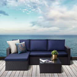 Peaktop Patio Furniture Sofa Set Garden Chairs Blue And Gray Rattan Pt-of0007