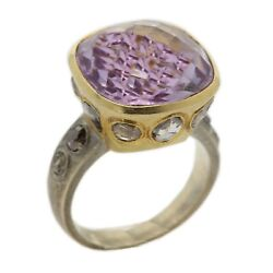 Light Amethyst Ring 18k Two Tone Gold Old Cut Diamonds Vintage Gold Ring 7