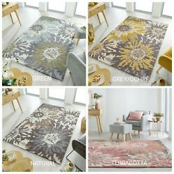 Zest Soft Floral Hand Carved Green Grey/ochre Natural And Terracotta Rug