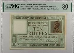 India ... P-6 ... 10 Rupees ... Nd1917-30 ... Pmg 30 ... Vf / Very Fine