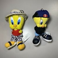Lot Of 2 1999 And 2000 Looney Tunes Tweety Bird 5 Plush Zip Top Key Chain And Clasp