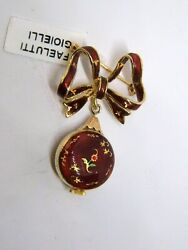 Vintage Brooch Watch Lidher Yellow Gold 18kt Enamels Age 1950 Antique