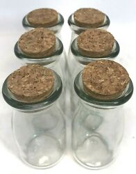 6 Apothecary Glass Jars With Cork Lids For Spices Candles Crafts Storage 6 Oz