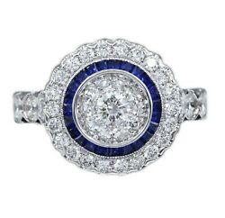 Art Deco Style Ring 18k Gold Diamonds And Blue Sapphire Art Deco Ring R2240-32m