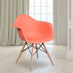 Plastic Accent Dining Chair With Arms And Wooden Legs