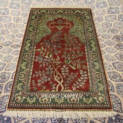 Yilong 3and039x5and039 Tree Of Life Handmade Silk Carpet Tapestry Luxury Birds Rug 298h
