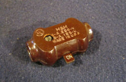 Antique Brown Bakelite In-line Snap Rocker Toggle On/off Lamp Cord Switch - Handh