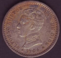 Spain Currency - Year 1904 - 50 Cents - Alfonso Xiii - Pcv 1 0 Silver