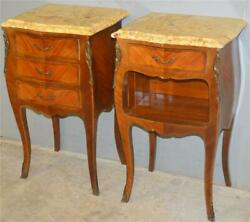 19613 Pair Of Inlaid Marble Top Victorian End Tables