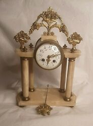 French 19th Century Louis Xvi Style White Marble And Brass Mantle Clock W/ Key