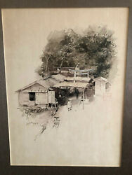 Lot Of Two Robert Blum Double-sided Original Japanese Ink Wash Illustrations