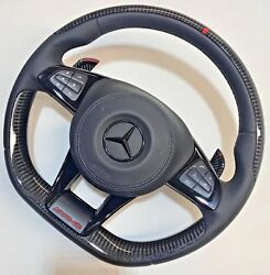 Mercedes-benz W222 C217 Amg Performance Leather And Carbon Fiber Steering Wheel