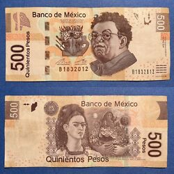 🎊birthday 2012 Fancy Serial Number 500 Peso Mexico P-126n.2 2017 Vf+ March 18