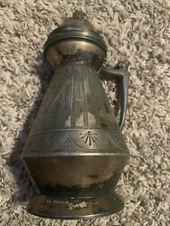 Patented In 1865 Antique Rogers Smith And Co. Quadruple Plate Syrup Pitcher