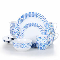 Veweet 16-piece Porcelain Dinnerware Set Service For 4 With Plates Bowls Mugs