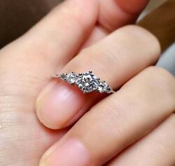 Forever 1.50 Ct Five Stone Round Moissanite Anniversary Gifts Ring In 925 Silver