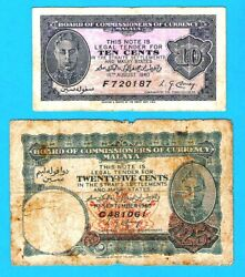 Malaya Board Of Commissioners Of Currency British P2and P3 10 And 25 Cents Kgvi 1940