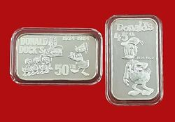 2 Rare Greathouse Productions - 45th And 50th Donald Duck Anniversary Silver Bars