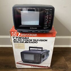 """Vintage 1992 Emerson Tco561 5"""" Portable Color Tv And Radio - With Original Package"""