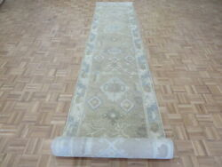 3and0392 X 28and0392 Runner Hand Knotted Tan Fine Turkish Oushak Oriental Rug G9645