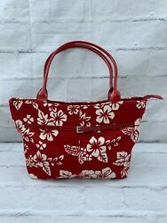 Women#x27;s Tote Red Floral Hand Shoulder Canvas Bag Zipper Leather Handle $32.35
