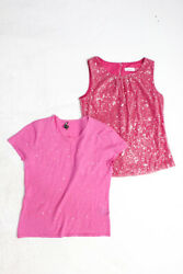 Pure Amici Calvin Klein Womens Scoop Neck Blouse Shirt Pink Large 8 Lot 2