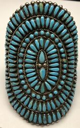 Huge 1940s Zuni Cluster Turquoise Petit Point Sterling Silver Cuff Bracelet 4
