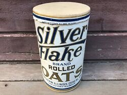 Antique Silver Flake Rolled Oats Oatmeal Cereal Canister Box Lockport Il