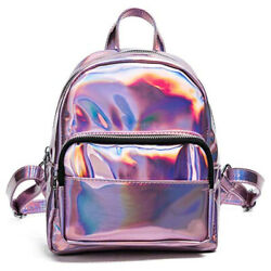 Holographic Laser Leather Backpack For Girls Pink Silver Mini Backpack For Women $24.31