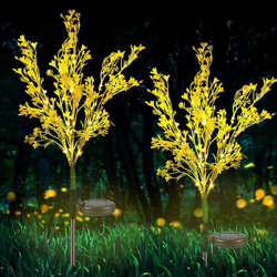 Solar Powered Led Garden Flowers Stake Lights For Patio Yard Lawn Pathway Decor