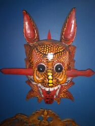Chinese Wooden Red Devil Mask