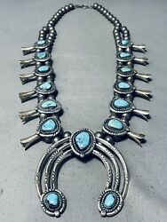 Authentic Vintage Navajo Turquoise Sterling Silver Squash Blossom Necklace